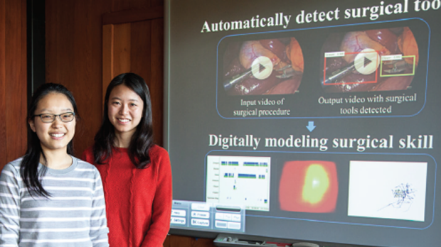 San Jose high school student Amy Jin with Stanford doctoral student Serena Yeung.