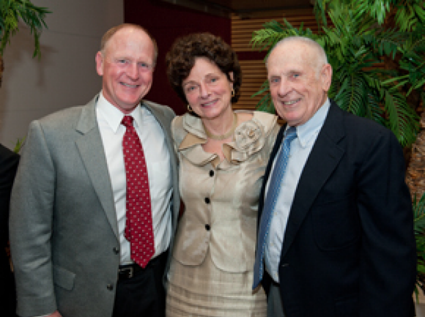 Helen Blau, PhD, (center) and Baxter Foundation board members Don Haake (left) and Dick Haake (right) celebrate the 10th Anniversary of the Donald E. and Delia B. Baxter Foundation Laboratory in Stem Cell Biology.